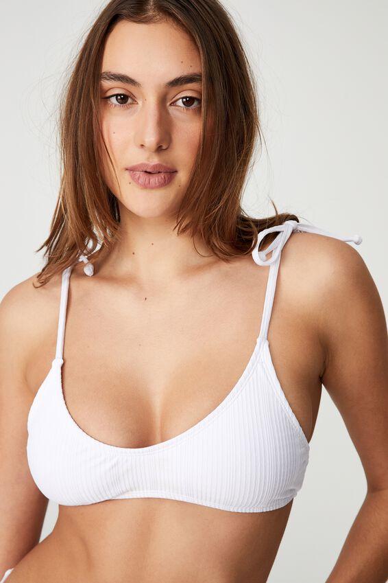 Gathered Scoop Crop Bikini Top Pointelle, WHITE POINTELLE