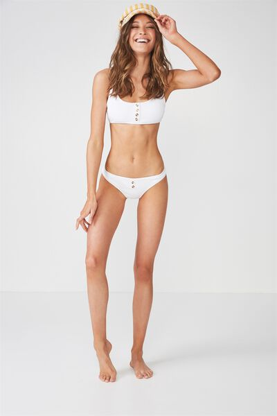 Tilly Button Up Cheeky Bikini Bottom, WHITE