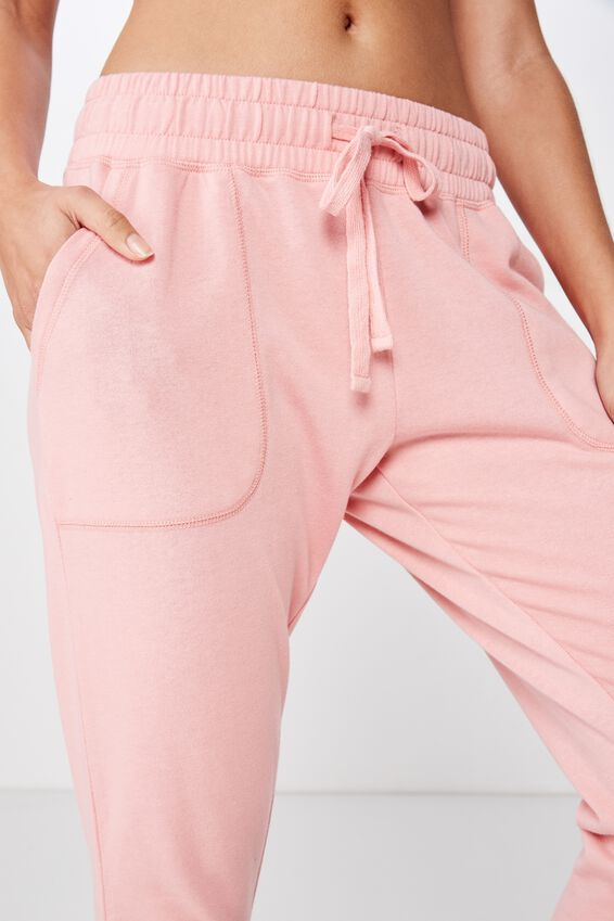 Cropped Gym Track Pants, PEONY PINK