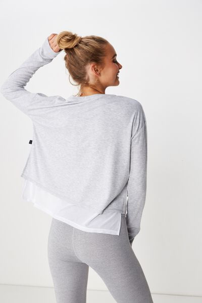 Layered Long Sleeve Top, GREY MARLE