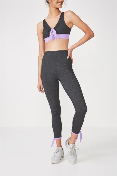 Highwaist Side Tie 7/8 Tight, CHARCOAL MARLE / VIOLET FIZZ
