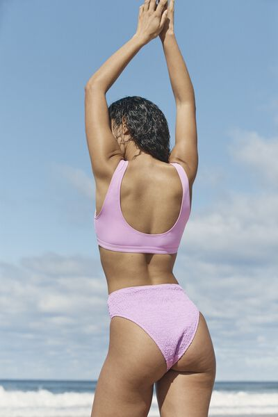 Highwaisted Cheeky Bikini Bottom, ORCHID SHIRRED
