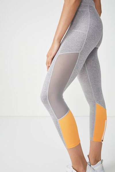 Elite Training 7/8 Tight, MID GREY MARLE / ORANGE