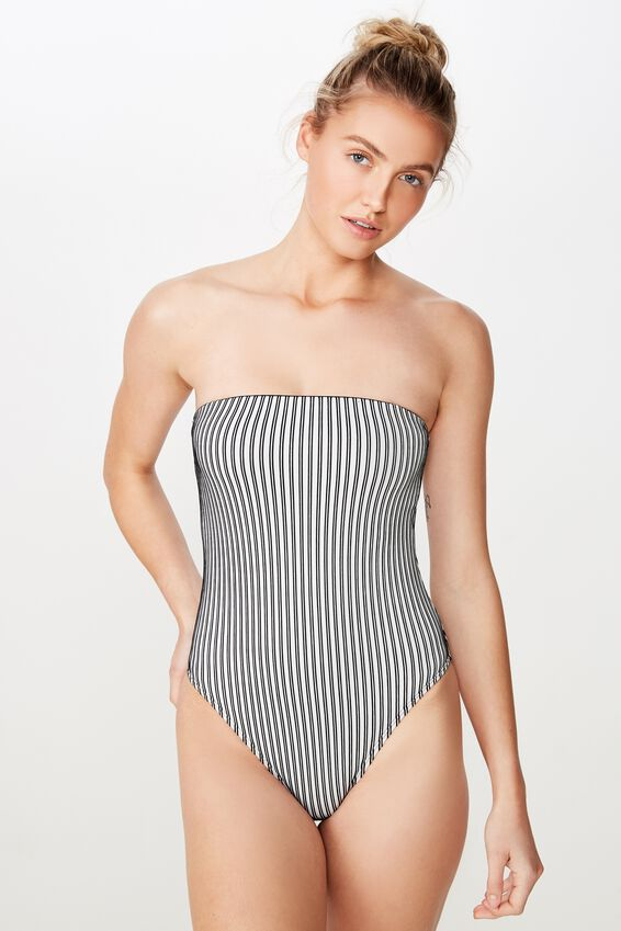 Strapless One Piece Cheeky, BLACK AND WHITE RIB