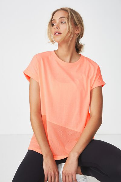 Spliced Mesh T Shirt, NEON SALMON