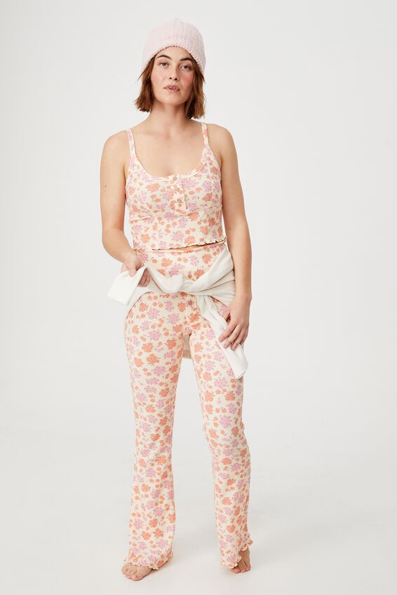 Bed Time Waffle Pant, FLORAL BUNCH DITZY ORANGE