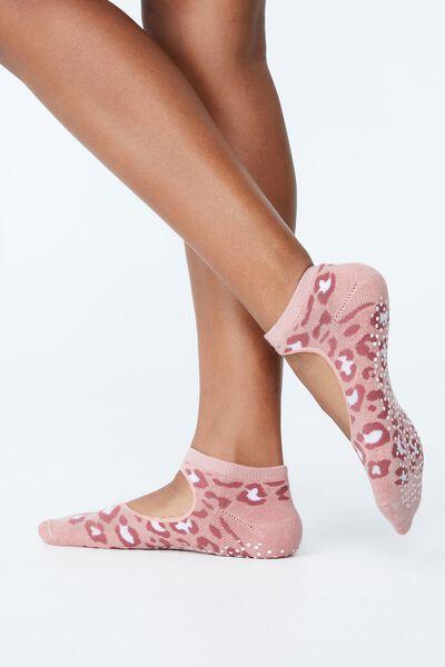 Plie Grip Studio Sock, PEACH BEIGE LEOPARD