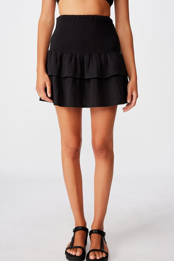 Shirred Tiered Beach Skirt, BLACK