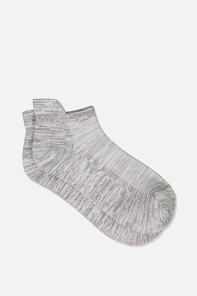 Fresh Mesh Ankle Tab Sock, LIGHT GREY SPACE DYE