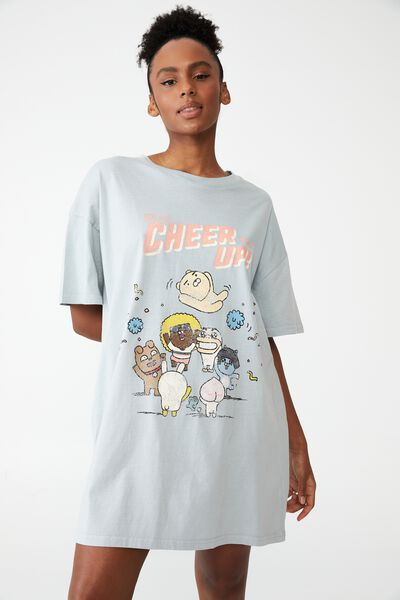 Organic Cotton 90S T-Shirt Nightie, LCN KAKAO CHEER UP LUNAR ROCK