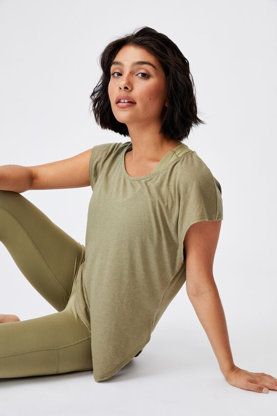 Active Scoop Hem Tshirt, OREGANO