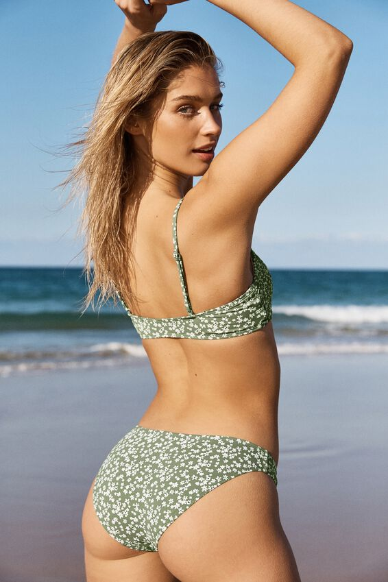 Scoop Crop Bralette Bikini Top, COOL AVOCADO DITSY SHIRRED
