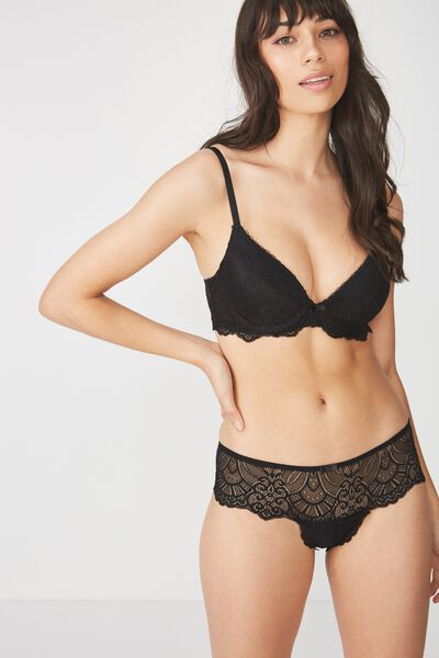 Candice Lace And Mesh Booster With Rem Up 2 Bra, BLACK
