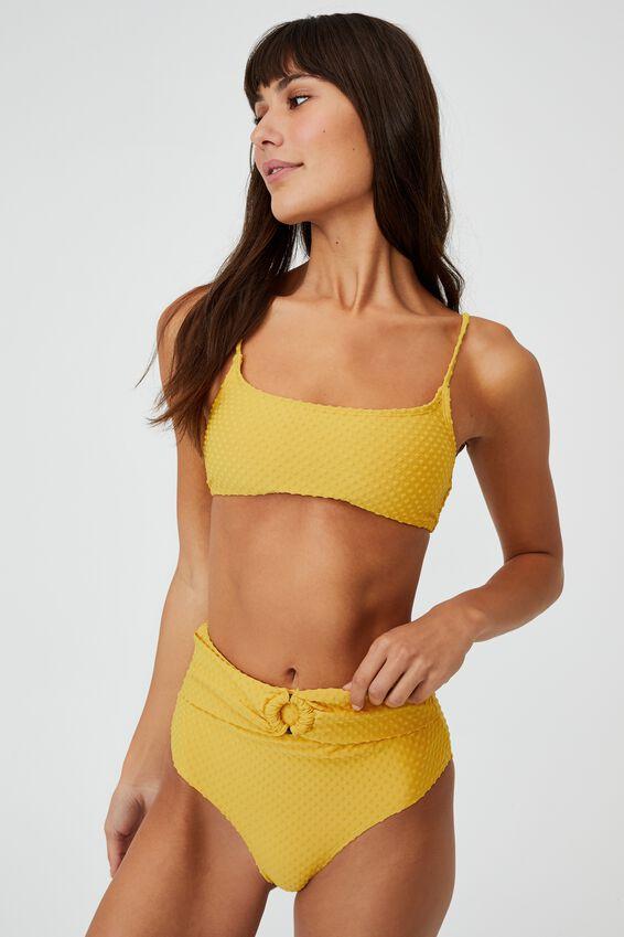 Straight Neck Bralette Bikini Top Terry, BRIGHT GOLD TERRY SPOT