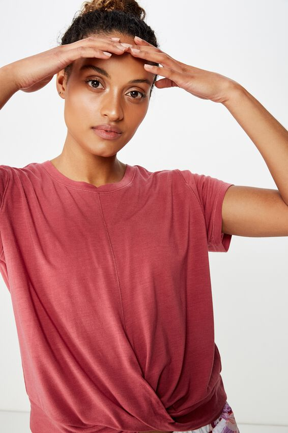 Twist Front Tshirt, ROSE SANGRIA