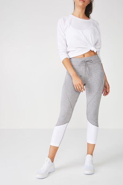 Textured Crop Tight, MID GREY MARLE WHITE