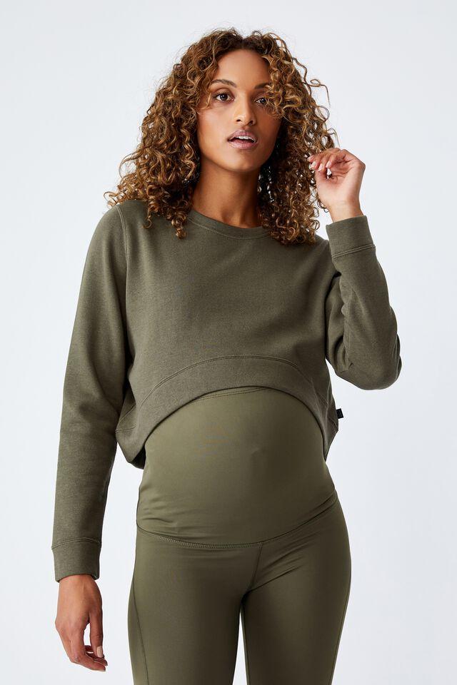 Maternity Lifestyle Fleece Crew, DEEP MOSS