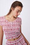 Henley Waffle Sleep T-Shirt, LCN DIS MICKEY & MINNIE FAIR ISLE RED