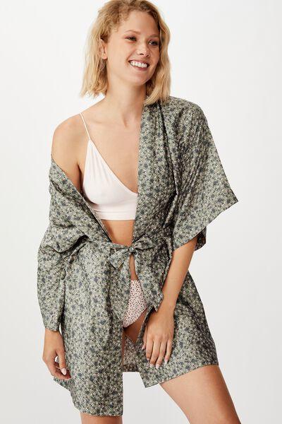 Satin Kimono Gown, NAIVE DITSY COOL AVOCADO