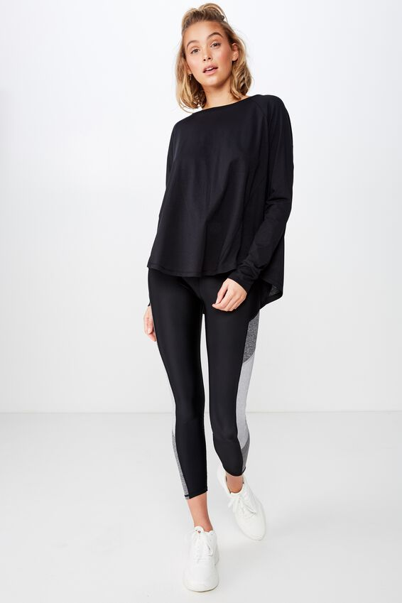 Active Rib Long Sleeve Top, BLACK