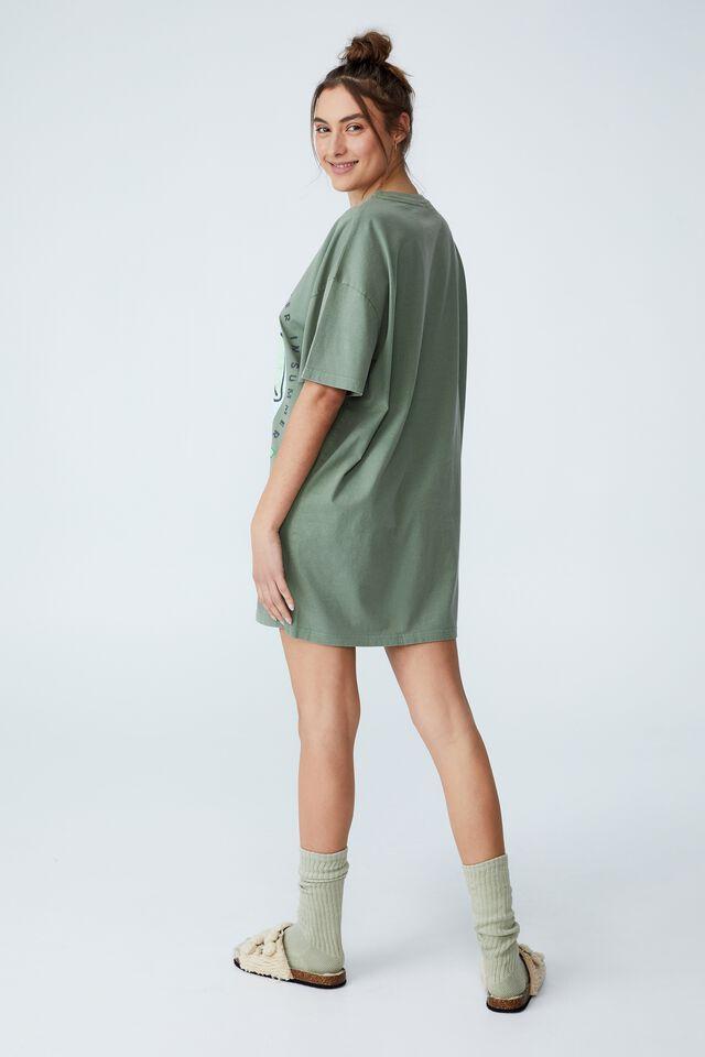 90S T-Shirt Nightie, LCN KAKAO RYAN IN SUMMER GARDEN SAGE WASH