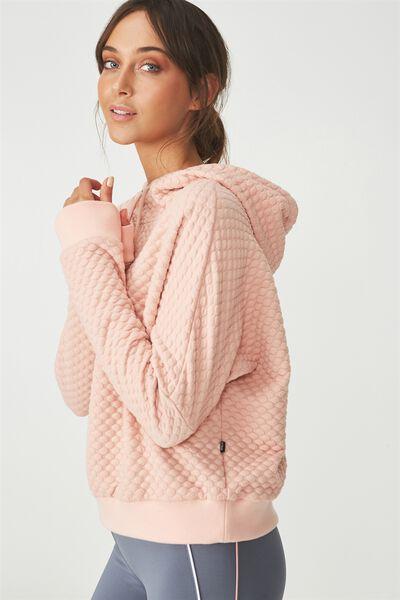Bubble Fleece Long Sleeve Top, PETAL PINK