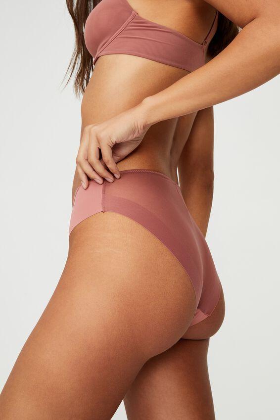Everyday Mesh High Cut Bikini Brief, WOOD ROSE