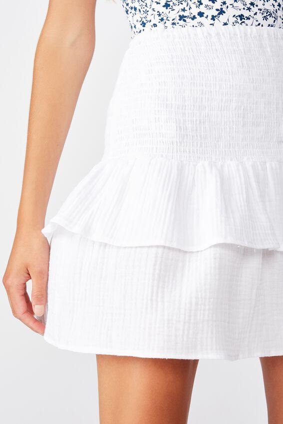 Shirred Tiered Beach Skirt, WHITE