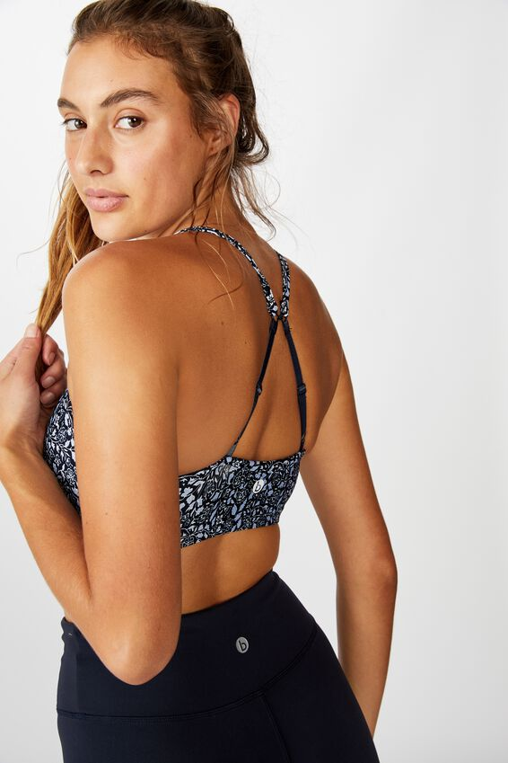 Workout Yoga Crop, NAVY DITSY PAISLEY