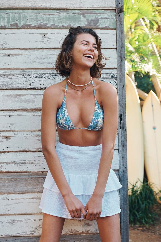 Slider Triangle Bikini Top, RETRO FLORAL BLUE SHIRRED