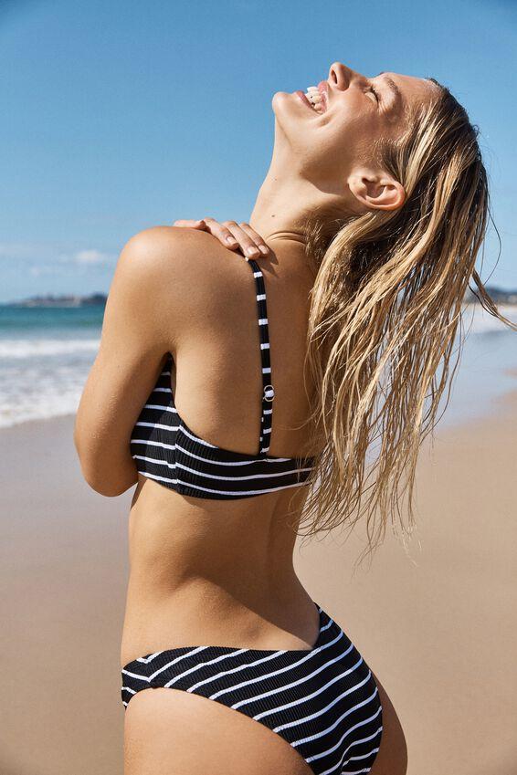 Scoop Crop Bralette Bikini Top, BLACK & WHITE STRIPE RIB