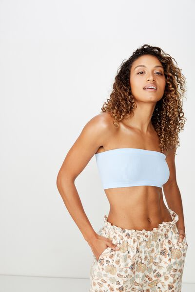 Seamfree Rib Bandeau, CHAMBRAY BLUE