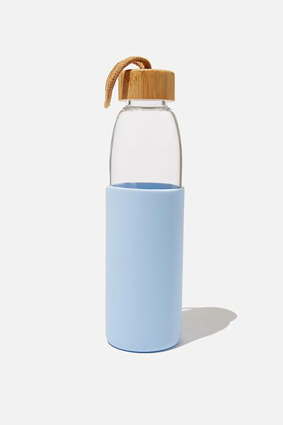 Reusable Glass Drink Bottle 550Ml, BLUE