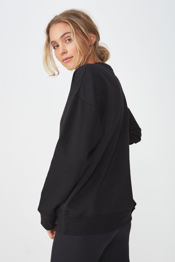 Long Sleeve Fleece Crew Top, BLACK