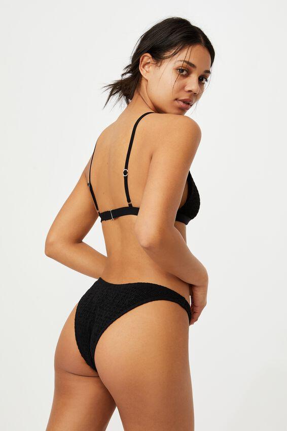 Fixed Triangle Bikini Top, BLACK SHIRRED