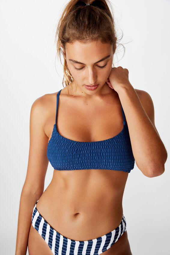 Scoop Crop Bralette Bikini Top, MARINA BLUE SHIRRED