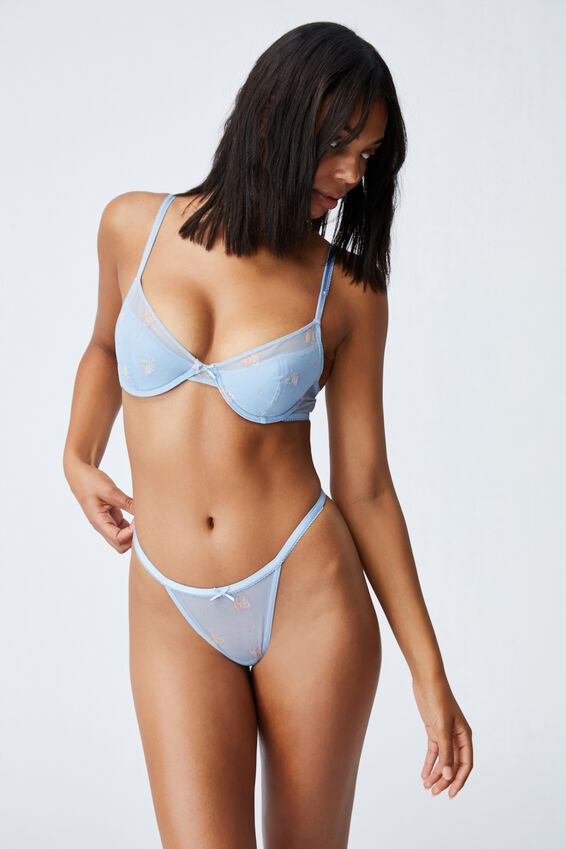 We Just Mesh Tanga G String Brief, FLORAL LACE BLUE BIRD