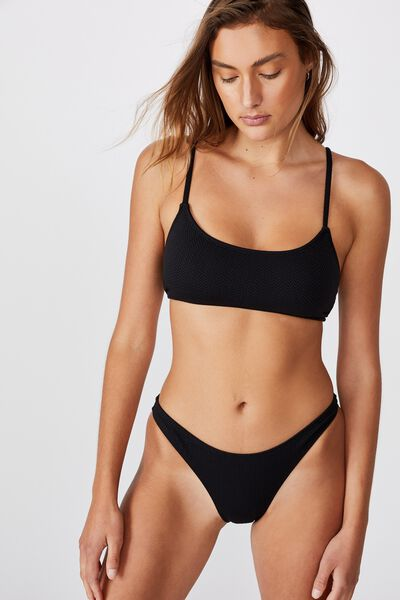 High Side Brazilian Bikini Bottom, BLACK TEXTURE