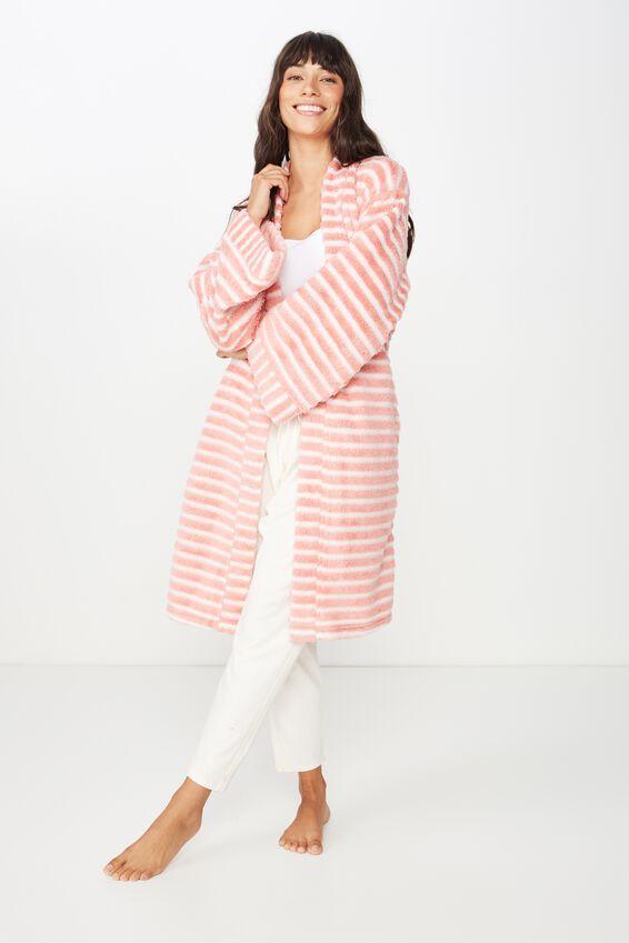 Kimono Plush Gown, ROSE TAN MARLE