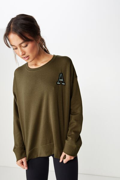 Personalised Long Sleeve Fleece Crew Top, OLIVE BRANCH