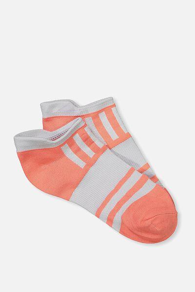 Active Tab Sock, MELON/LIGHT GREY