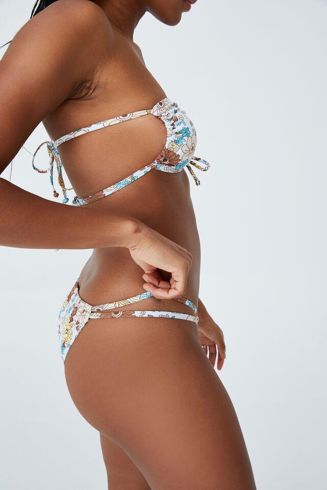 Gathered Double Strap Brazilian Bikini Bottom, RESORT FLORAL BLUES