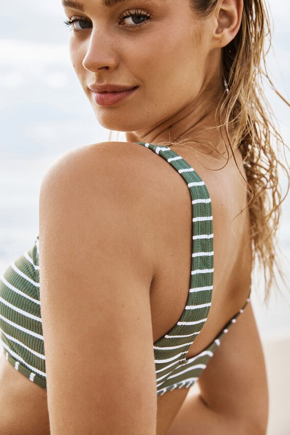 Henley Scoop Crop Bikini Top, COOL AVOCADO STRIPE RIB