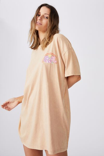 90 S Tshirt Nightie, LCN CLC SHARE BEAR/CREME BRULEE