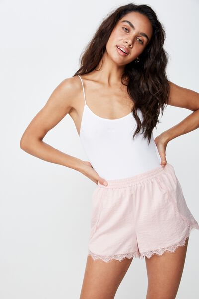 Textured Satin Short, CORAL BLUSH