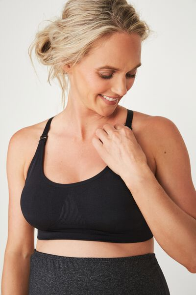 Maternity Seamfree Active Crop, BLACK
