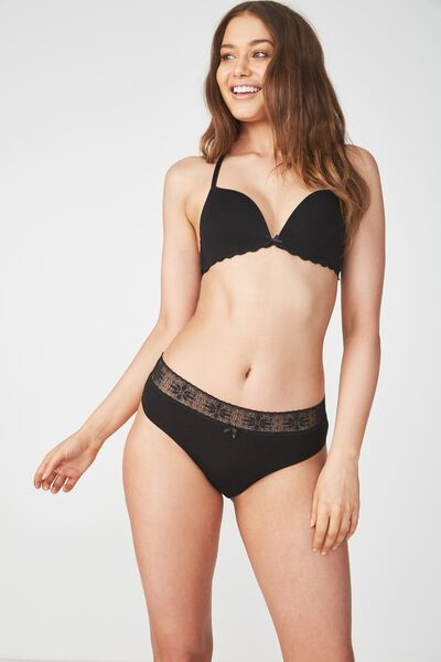 High Waist Super Soft Bikini Brief, BLACK