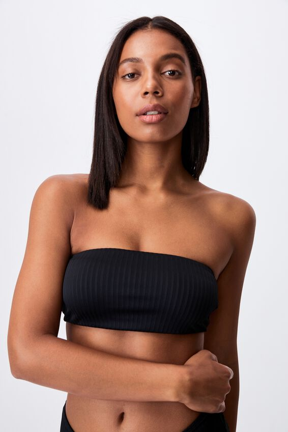Midi Bandeau Bikini Top Rib, BLACK RIB 21
