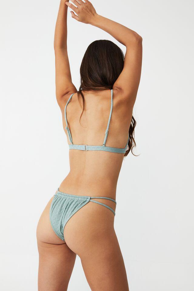 Gathered Double Strap Brazilian Bikini Bottom, MINT MACARON WEAVE JACQUARD