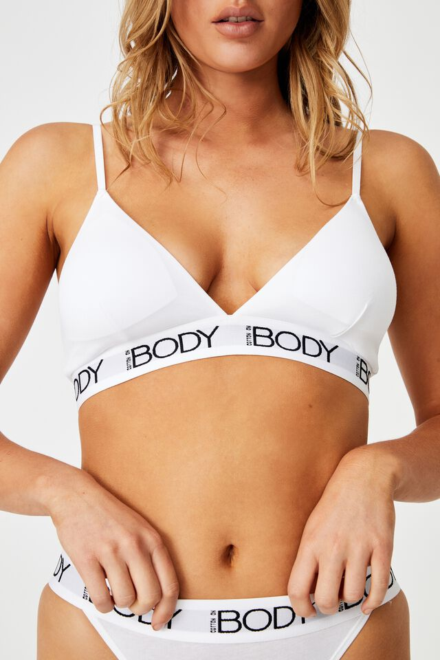 Body Organic Cotton Bralette, WHITE